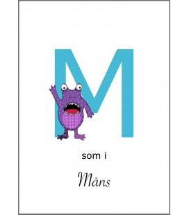 Namntavla Bokstaven M monster
