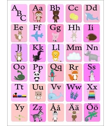 ABC rutor rosa/blå