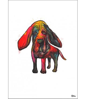 Blodhund akvarell