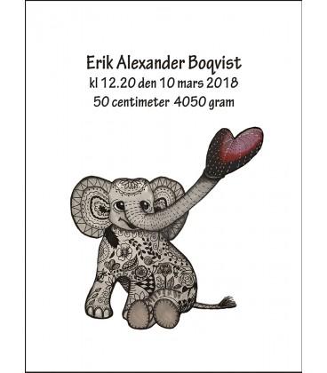 Doptavla Blommig elefant