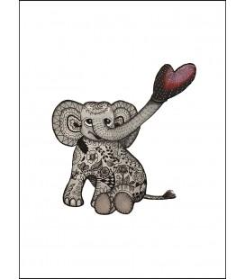 Barntavla Blommig elefant