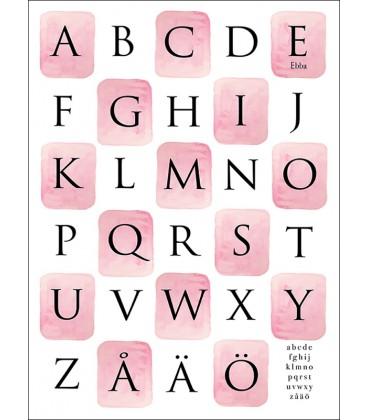 Alfabet akvarellrutor rosa/blå/grön