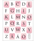 Alfabet akvarellrutor rosa