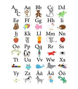 ABC-tavla vit bakgrund 30 x 40 cm
