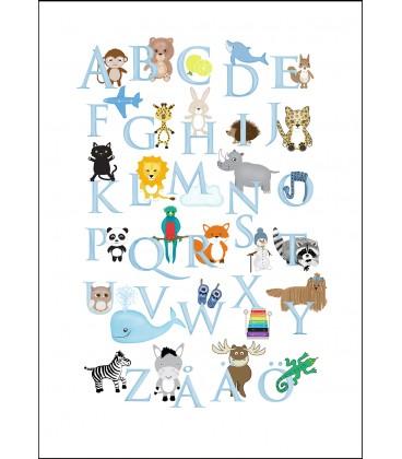 Alfabetstavla + räknetavla pastell blå 50 x 70 cm