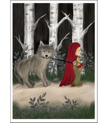 Barntavla Rödluvan och vargen