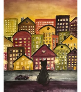 Konstprint Cat city