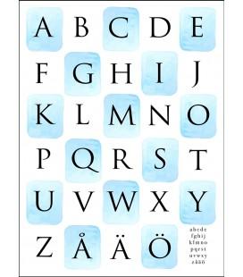 Alfabet akvarellrutor blå