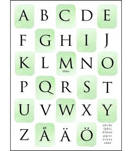Alfabet akvarellrutor grön