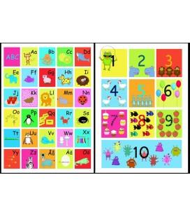 ABC-tavla + räknetavla Färgglad 50x70 cm paketpris