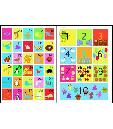 ABC-tavla + siffertavla 50 x 70 cm paketpris