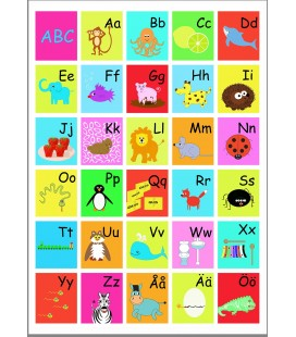 ABC-tavla Färgglad 50x70 cm